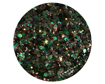 AlexCole Emerald's Forest Green and Black Glitter Nail Polish