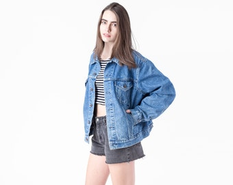 JEAN jacket OVERSIZE levi's vintage denim coat jeans medium wash boyfriend Medium / Large / xL extra large / better Stay together