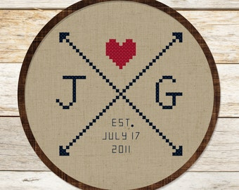Couple Initials Arrow Love. Personalizable Modern Simple Cute Gifttable Counted Cross Stitch Pattern Custom PDF File. Instant Download