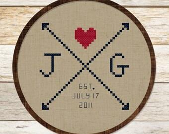 Couple Initials Arrow Love. Personalizable Cross Stitch Pattern Custom PDF File