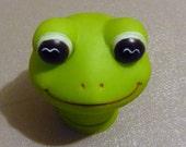 Frog Head Doll Craft Head Full Head Doll Craft Supply Vintage Green Frog Big Eyes
