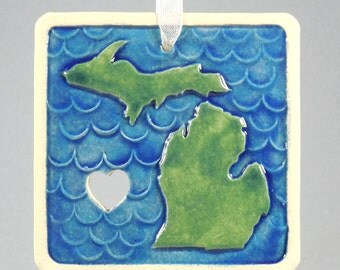 Michigan Ornament ~ Upper & Lower Penninsula ~ Great Lake State ~ State of Michigan ~ Blue ~ Green