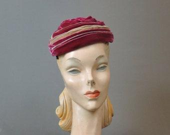 Vintage Velvet Hat Dark Pink and Tan Gathered Velvet Hat, Vintage Hat 21 inch head, 1960s