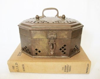vintage perforated metal brass box pierced trinket box cricket cage