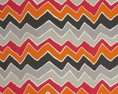 Seesaw Sherbet Twill, Chevron Fabric, Home Dec Fabric, Premier Prints Fabric Orange and Gray Chevron- One Yard
