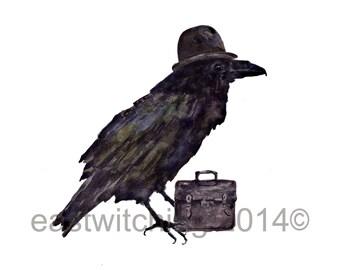 RAVEN Art Print, Boss Gift, raven painting, bird art