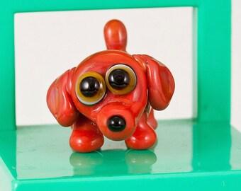 Hot Dog Dachshund Lampwork Dog Bead
