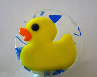 Fused Glass Duck Nightlight, Duckling Night Light, Yellow Nightlight, Children's Room Nightlight