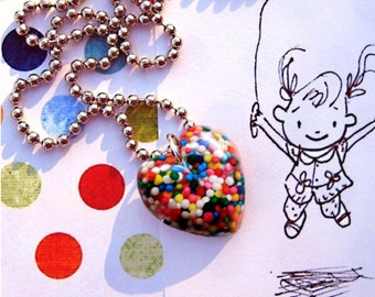 Heart Jewelry - I WANT CANDY...petite rainbow cupcake sprinkles resin heart pendant necklace - sweet jewelry by isewcute