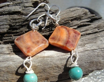 25 %  off entire store Orange Crab Fire Agate and Green Turquoise Dangle Earrings
