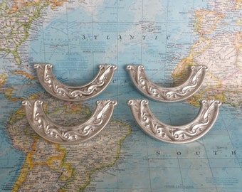 SALE! 4 smile shape ornate silvertone metal handles