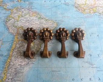 SALE! 4 vintage chunky brass metal pull handles