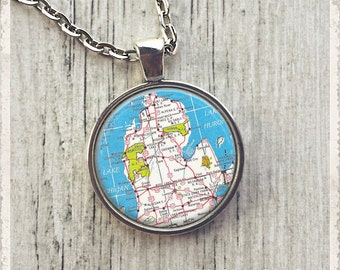 Michigan Map Necklace, Map Pendant, Personalized Map Necklace, Photo Pendant Necklace, Map Jewelry or Key Ring Keychain