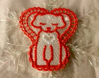 Holiday Christmas Dog on a Snowflake Ornament Free Standing Lace Peach and White