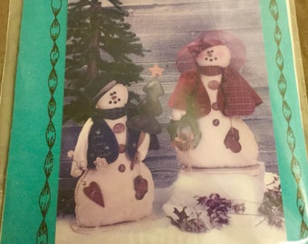Felt Snowman and Snowlady  Standing Doll Pattern  23 inches tall, Uncut Vintage  Decoration