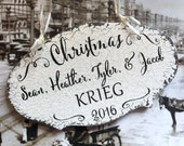 FAMILY CHRISTMAS ORNAMENT, 2016 Christmas Ornament, Custom Name Ornament, 3 1/4 x 5 1/2