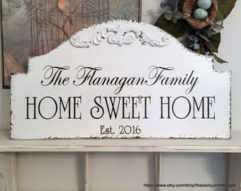 HOME SWEET HOME, Family Signs, Beach House Signs, Lake House Sign, Cabin Signs, 25 x 13