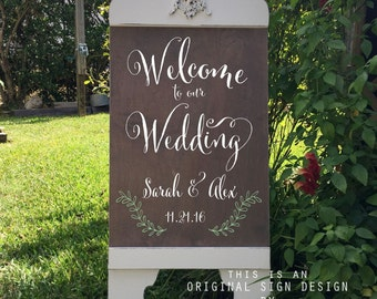 Wedding Signs, WELCOME to our Wedding SIGN, Bride and Groom Signs, A Frame Signs, Sandwich Board, Self Standing, 37 x 16