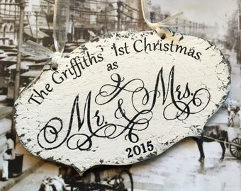 Our 1st CHRISTMAS ORNAMENT, Mr. and Mrs. Christmas Ornament, Personalized Mr & Mrs Christmas Ornament, Shabby Chic Ornament