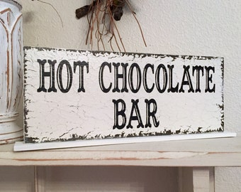 HOT CHOCOLATE BAR Sign, Wedding Table Sign, Wedding Sign, Hot Chocolate Signs, 4 3/4 x 12