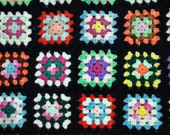Granny square style wool afghan