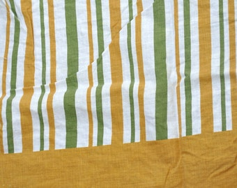 Feed sack - Gold and Green Striped Vintage Feedsack