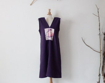 peony kimono silk panel on eggplant linen sparrow tunic dress ready to wear size M