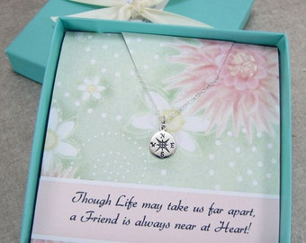 Friendship Necklace, Compass Necklace, Best Friend Jewelry, Bridesmaids Gifts, College Graduation Gift, Message Card