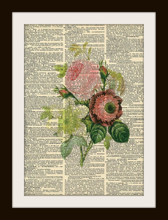 Art Print BOUQUET 8x10 Dictionary Gold Gilded Vintage Page