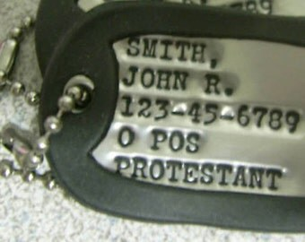 Real SINGLE Debossed Military Dog Tag Dogtag Made Just For U FREE SHIPPING
