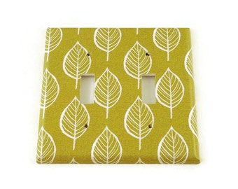 Double Switchplate Light Switch Cover in  Olive and Leaves  (220D)