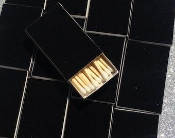 10 Black Velvet Matchbox Wedding Favors formal black Tie elegant
