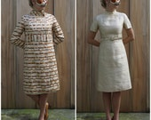 Gorgeous Vintage 60s Mod Champagne Silk Sheath Dress & Wild Matching Metallic Trellis Tapestry Jacket Set | Medium