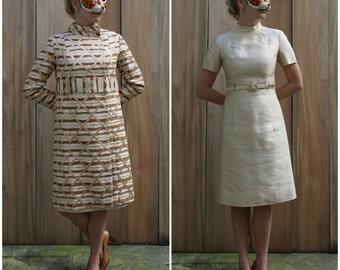 Gorgeous Vintage 60s Mod Champagne Silk Sheath Dress & Wild Matching Metallic Trellis Tapestry Jacket Set | Medium