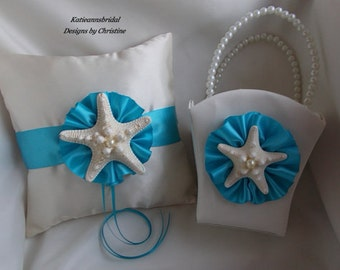 Wedding Ring Bearer Starfish Pillow Starfish Flower Girl Basket Turquoise and Ivory