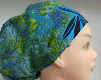 Womens Hybrid Style Surgical Scrub Hat Chemo Chef Cap Blue Green Adele