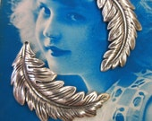 Sterling Silver Ox Plated Feather Brass Leaf Stampings 2216SOX  x2