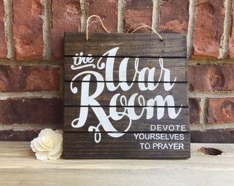 War Room Sign, Prayer Sign, Stained Wood Sign, Prayer Room Sign, Christian Wall Art, Christian Decor, Prayer Warrior, Bible Wall Art