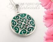 Trending Jewelry, Memorial Jewelry, Memorial Flower Petal Jewelry, Funeral Flower Jewelry, Memorial Gift Idea, Filigree Circle Pendant