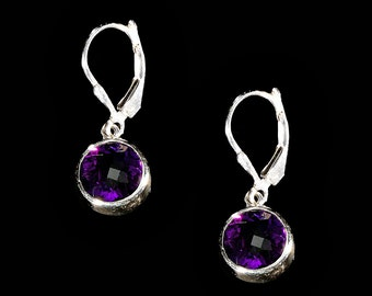 Faceted Amethyst Round and Sterling Silver Earrings, Amethyst Earrings, Amethyst Jewelry, Silver Earrings, February Birthstone Earrings
