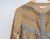 BIBA Cotton Mini Dress |  Vintage Cotton Tunic | 1970s Tribal Print Shift Dress | M to L