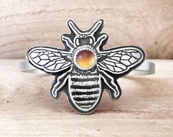 Honey bee bracelet, citrine, sterling silver cuff bracelet, gift for wife, girlfriend gift for her, handmade cuff, honeybee jewelry