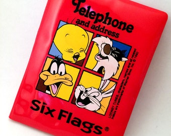 vintage six flags / looney tunes address book