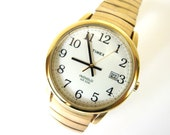 Vintage 1990's Men's Timex Indiglo WR 30 M Goldtone Watch, Serviced w New Battery