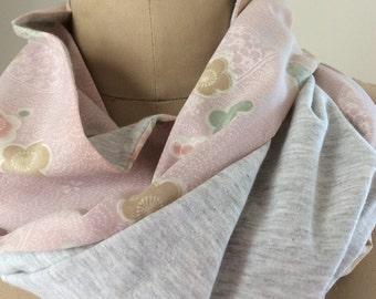 Pretty in Pink Vintage Japanese Infinity Scarf - Reversible