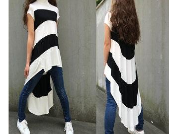 Beatles - idea2lifestyle stripe tunic dress / asymmetrical extravegant tunic dress / sport stripe dress / modern papillon dress (Q1711X)