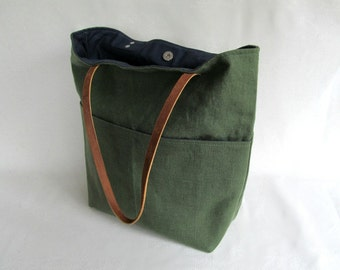 Large LINEN Tote // Pocketed Front Linen Tote Bag // Linen Tote with Leather Straps // Green