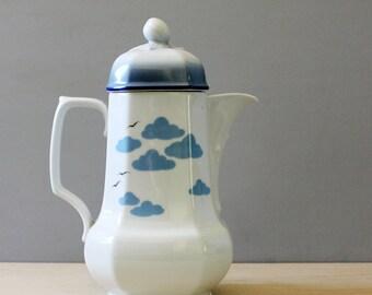 1970s Seltmann Weiden coffee pot, Mirabell. Blue clouds on German porcelain.