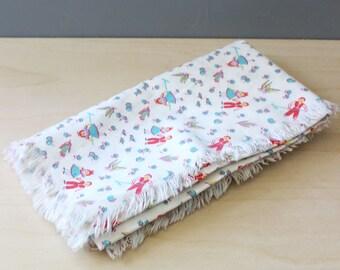 Little People. Mid century children's table cloth.