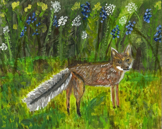 Fox visitor. Limited edition print of an original oil painting by Vivienne Strauss.
